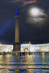 St. Petersburg. Russia. Palace Square, Alexander column and Arch of the General Staff Building in night illumination