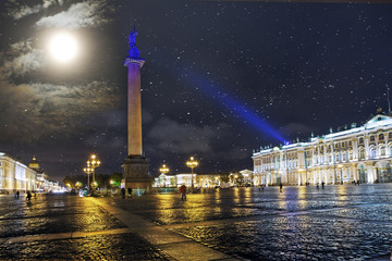 St. Petersburg. Russia. Palace Square with Alexander column and the Winter Palace in night illumination