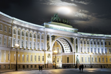 St. Petersburg. Russia. Palace Square and Arch of the General Staff Building in night illumination