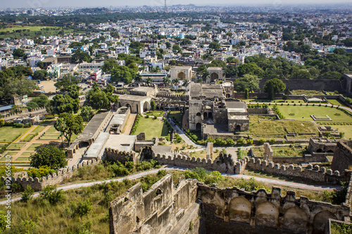 Looking down at the Ruins of Golconda Fort, into the Old
