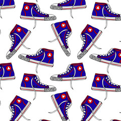 seamless pattern with blue  textile sneakers
