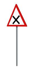 Deutsches Verkehrszeichen: Kreuzung, auf weiß isoliert, 3d render