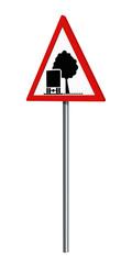 Deutsches Verkehrszeichen: unzureichendes Lichtraumprofil, auf weiß isoliert, 3d render