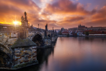 Prague, Sunset over Charles bridge, Czech Republic