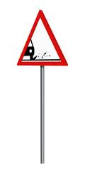 Deutsches Verkehrszeichen: Splitt, Schotter, auf weiß isoliert, 3d render