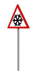 Deutsches Verkehrszeichen: Schnee- oder Eisglätte, auf weiß isoliert, 3d render