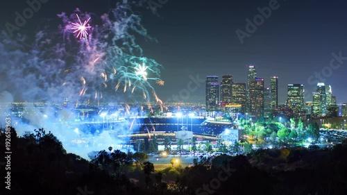 Fotobehang Fireworks display Dodger Stadium city Los Angeles skyline night 4K UHD timelapse