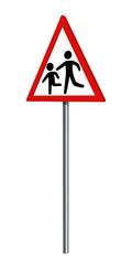 Deutsches Verkehrszeichen: spielende Kinder, auf weiß isoliert, 3d render