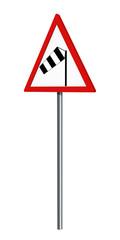 Deutsches Verkehrszeichen: Seitenwind, auf weiß isoliert, 3d render