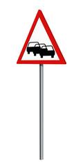 Deutsches Verkehrszeichen: Stau, auf weiß isoliert, 3d render
