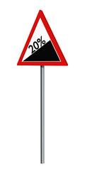 Deutsches Verkehrszeichen: 20% Steigung, auf weiß isoliert, 3d render