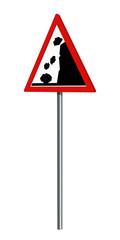 Deutsches Verkehrszeichen: Steinschlag, auf weiß isoliert, 3d render