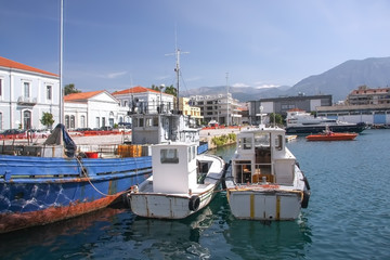 Small port of the city of Kalamata in the Peloponnese