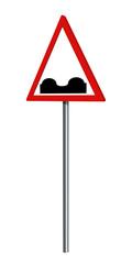Deutsches Verkehrszeichen: unebene Fahrbahn, auf weiß isoliert, 3d render
