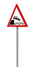 Deutsches Verkehrszeichen: Ufer, auf weiß isoliert, 3d render