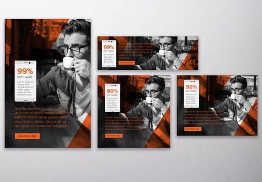Grayscale and Orange Business Technology Web Banner Layouts