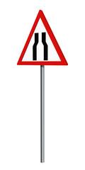 Deutsches Verkehrszeichen: verengte Fahrbahn, auf weiß isoliert, 3d render