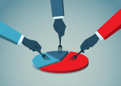 Businessmans hands with fork picking pie chart parts. Financials, market concepts.