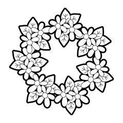 outline circle flowers branches with leaves decoration