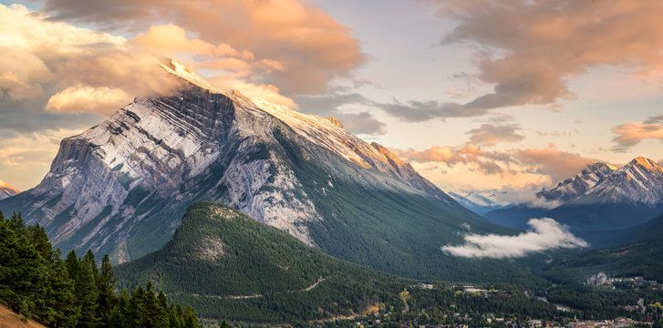 Sunset of Mount Rundle in Banff National Park taken from Norquay