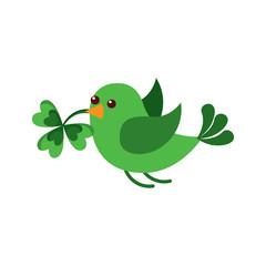 green bird flying with clover in beak vector illustration