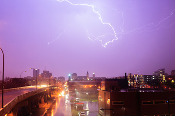 Split The Night: a lightning bolt strikes over Akron, Ohio, April 2017.