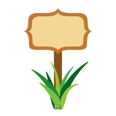 wooden board on a grass empty vector illustration