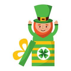cute leprechaun in gift box surprise celebration vector illustration