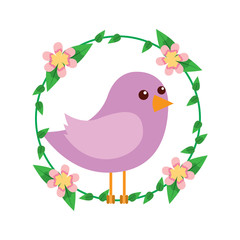 cute bird in decorative floral wreath flowers decoration vector illustration