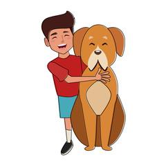 Dog and boy cartoon icon vector illustration graphic design