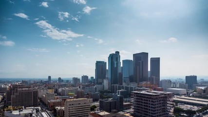 Fotobehang - Beautiful day at downtown Los Angeles. Aerial view of city. 4K UHD timalapse.