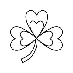 clover with three leafs natural emblem vector illustration outline image