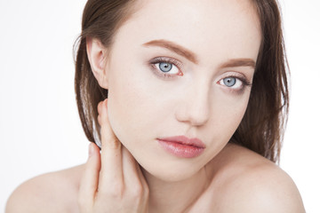 Beauty portrait. Young, fresh skin of woman after facial treatment.