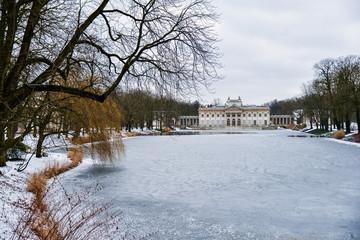 Warsaw city, frozen lake of palace on the Isle.