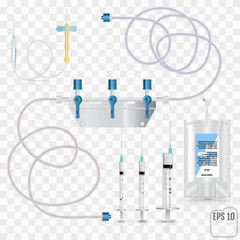 Bag of intravenous antibiotics and plastic infusion set. System for intravenous infusions with a converting device.  Tube and blood collection set. Vector