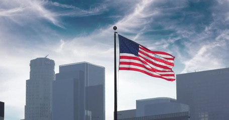 Fototapete - American US USA flag waving over city Los Angeles skyline clouds sky background