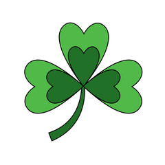 clover with three leafs natural emblem vector illustration
