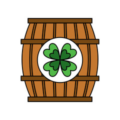 wooden barrel of beer with clover vector illustration