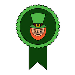 rosette badge with face leprechaun character vector illustration