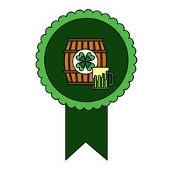 rosette badge with wooden barrel beer vector illustration