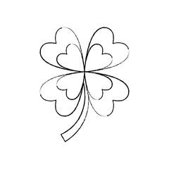 four leaf clover good luck symbol vector illustration