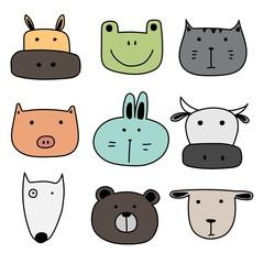 Set Of Cute Animal. Hand Drawn Vector Illustration