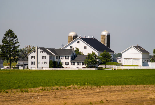 Amish Farm with White Fence