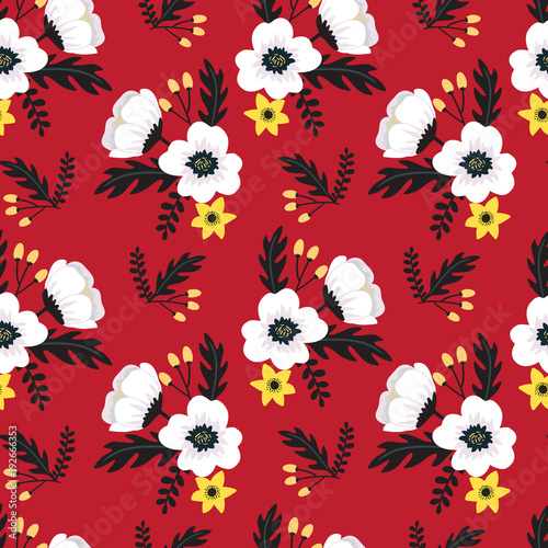 Elegant Colorful Seamless Floral Pattern With White And Yellow Flowers On Red Background Ditsy Print
