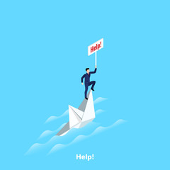 man in a business suit on a sinking ship with a sign help, isometric image