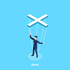 a man in a business suit hanging on ropes like a puppet, an isometric image