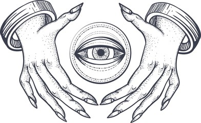Witch hands with all seeing third eye. Dotwork tattoo design. Vector