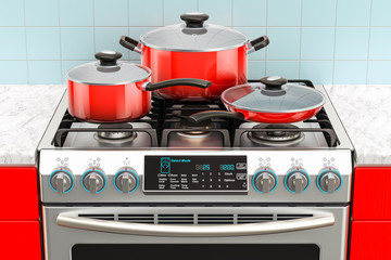 Steel gas cooker with pot, pan and frypan. 3D rendering