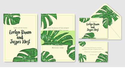 Wedding invitation, envelope, rsvp, label save the date greeting card set. Design with monstera palm leaves & green frame. Vector