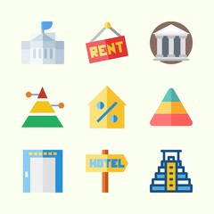Icons about Construction with museum, percentage, white house, hotel, elevator and real estate